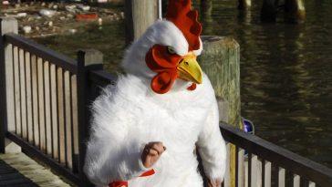weird guy in a chicken suit